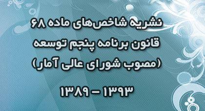 انتشار نشریه شاخصهای ماده 68 قانون برنامه پنج ساله پنجم توسعه مصوب شورای عالی آمار (1393 ـ 1389) توسط مرکز آمار ایران